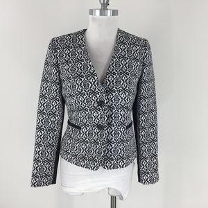 Tahari S 4 Black White Floral Jacquard Blazer